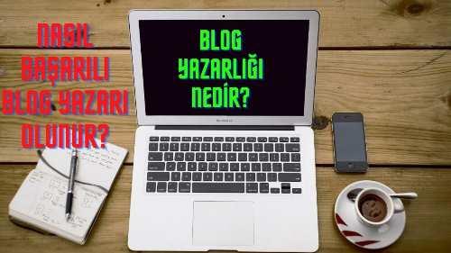 Gıri renkli bilgisayar var. Ekranda Blok Yazarlığı Nedir yazıyor. Sağ tarafta kahva ve cep telefonu bulunuyor. Sol tarafta ise bloknok şeklinde defter ve kalem vardır.