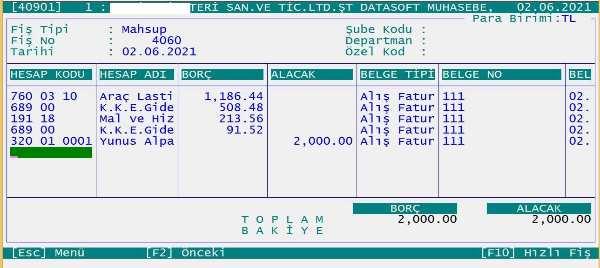 Datasoft muhasebe programı ile raç lastik alışının muhasebe kaydı, görüntüsü.